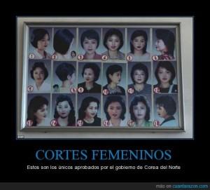 Viñeta de los cortes de pelo femeninos permitidos